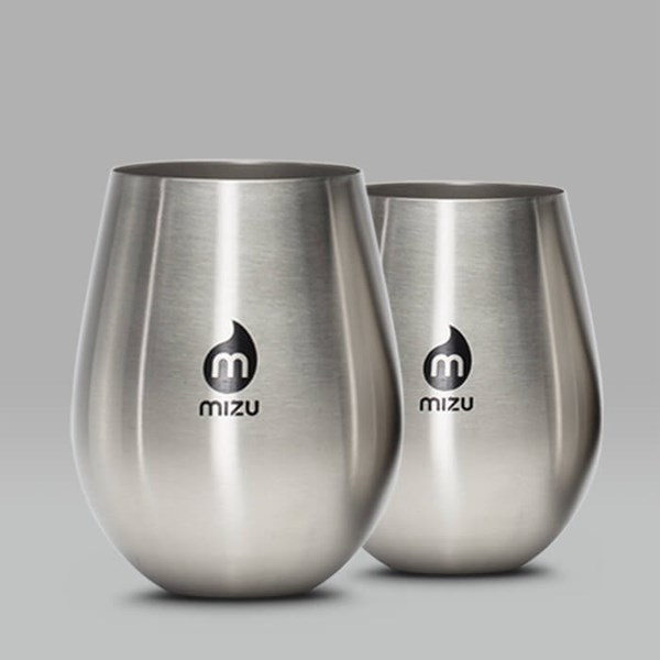 MIZU SET OF TWO STAINLESS STEEL CUPS 17OZ SILVER