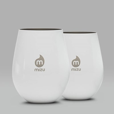 MIZU SET OF TWO STAINLESS STEEL CUPS 17OZ WHITE