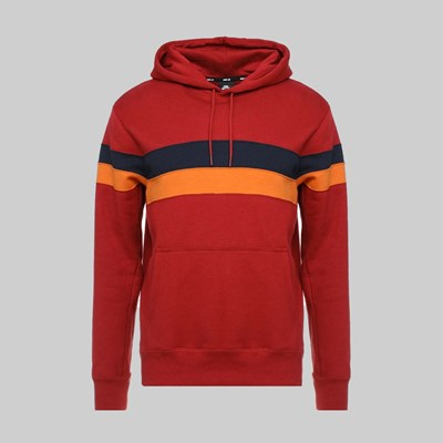 NIKE SB ICON STRIPES HOODIE TEAM CRIMSON OBSIDIAN