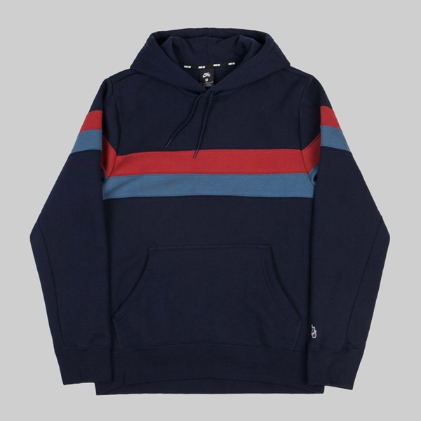 NIKE SB ICON STRIPES HOODIE OBSIDIAN TEAM CRIMSON
