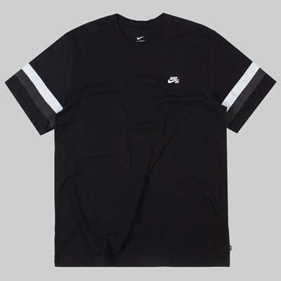 NIKE SB SLEEVE STRIPE T-SHIRT BLACK THUNDER GREY