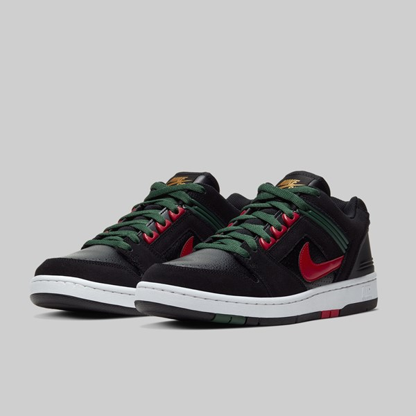 NIKE SB AIR FORCE II LOW 'GUCCI' BLACK GYM RED ALOE VERDE