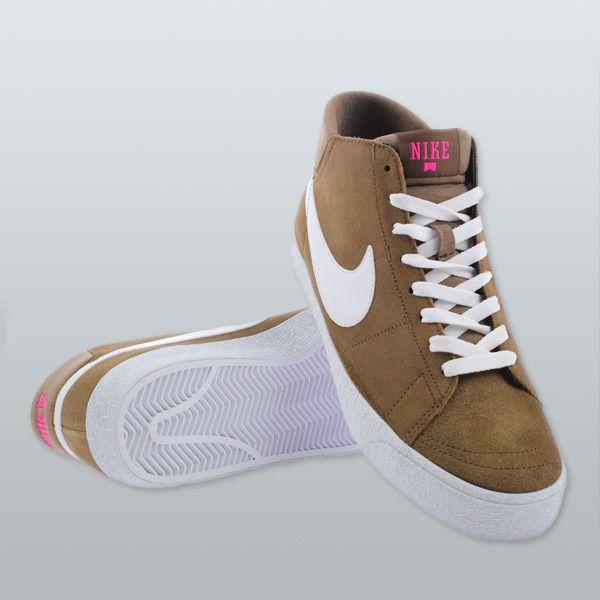 e9aef666230 Nike SB Blazer Mid LR Trainers Military Brown White Pink Foil
