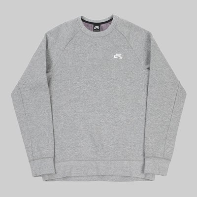 NIKE SB CREW SWEAT DK GREY HEATHER WHITE