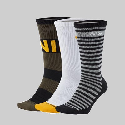 NIKE SB EVERYDAY MAX 3 PACK CREW SOCKS STRIPES
