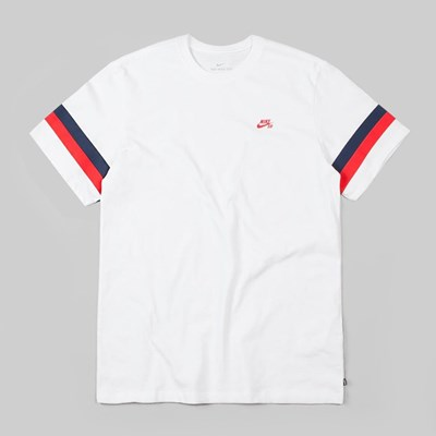 NIKE SB SLEEVE STRIPE T-SHIRT WHITE UNIVERSITY RED