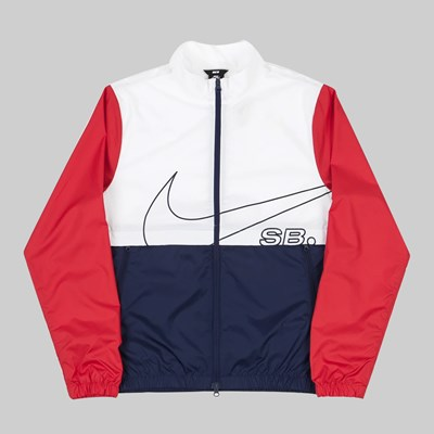 NIKE SB TRACK JACKET WHITE MIDNIGHT NAVY RED
