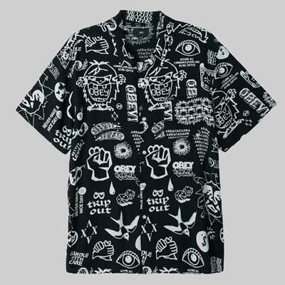 OBEY FLASH WOVEN SS SHIRT BLACK MULTI