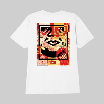 OBEY FACE COLLAGE SS T-SHIRT WHITE