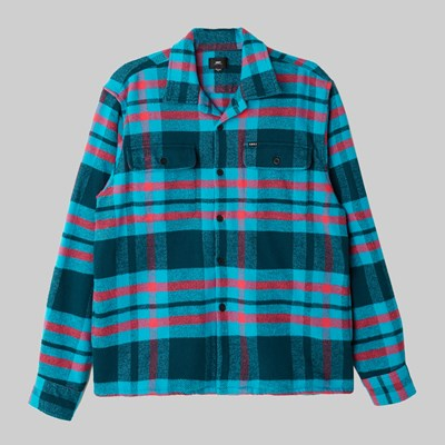 OBEY FITZGERALD WOVEN LS SHIRT DEEP TEAL MULTI