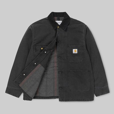 CARHARTT OG CHORE COAT BLACK STONE WASHED
