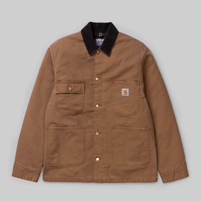CARHARTT OG CHORE COAT HAMILTON BROWN STONE WASH