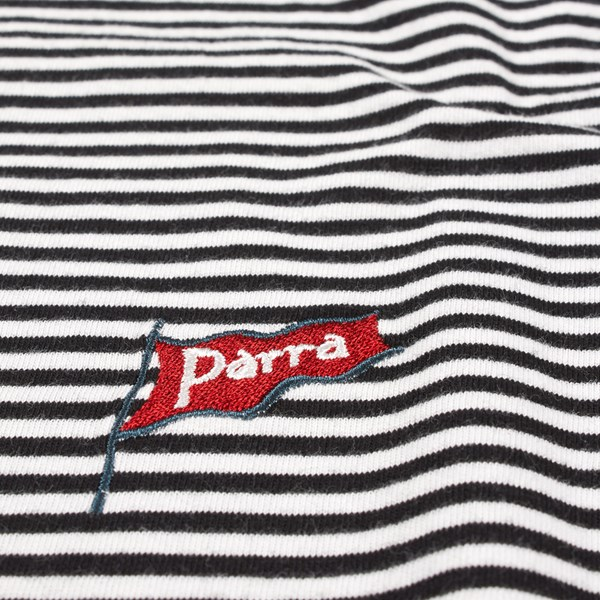 BY PARRA FLAPPING FLAG STRIPED T-SHIRT BLACK WHITE