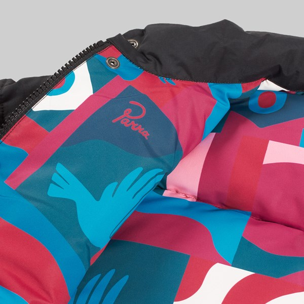 BY PARRA GRAB THE FLAG PUFFER JACKET BLACK