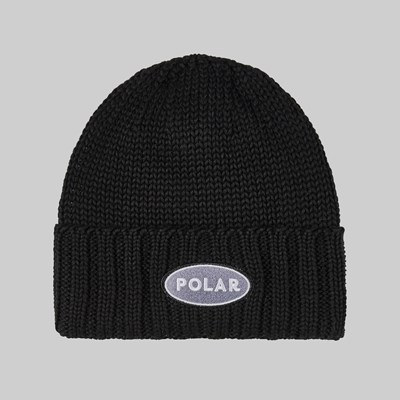 POLAR SKATE CO. PATCH BEANIE BLACK
