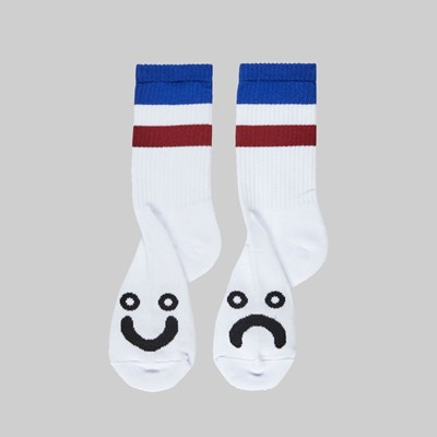POLAR SKATE CO. HAPPY SAD SOCKS STRIPES BLUE