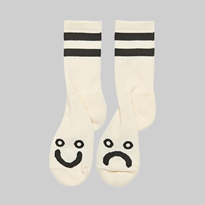 POLAR SKATE CO. HAPPY SAD SOCKS IVORY