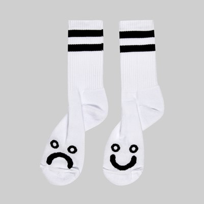 POLAR SKATE CO. HAPPY SAD LONG SOCKS WHITE