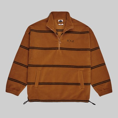POLAR SKATE CO. STRIPED FLEECE PULLOVER 2.0 CARAMEL