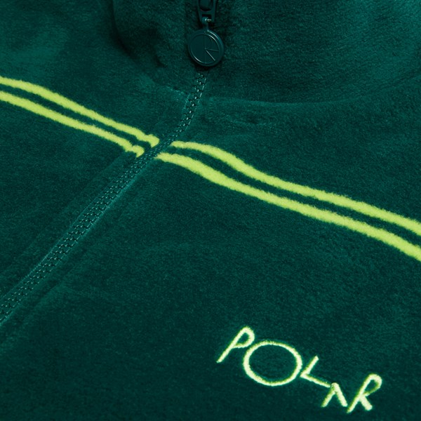 POLAR SKATE CO. STRIPED FLEECE PULLOVER 2.0 DARK GREEN