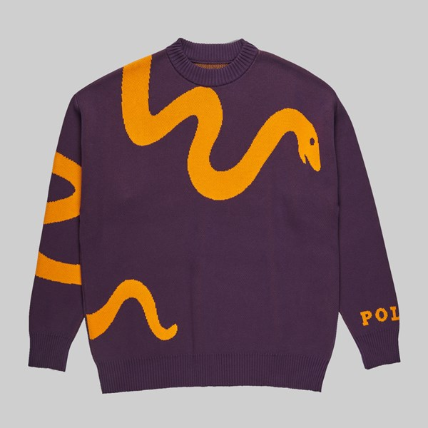POLAR SKATE CO. SNAKE KNIT SWEATER PRUNE ORANGE
