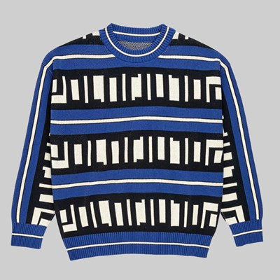 POLAR SKATE CO. SQUARE LOGO KNIT SWEATER BLUE