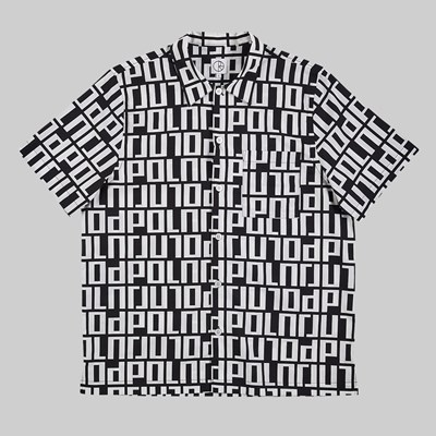 POLAR SKATE CO. SQUARE LOGO SHIRT BLACK WHITE