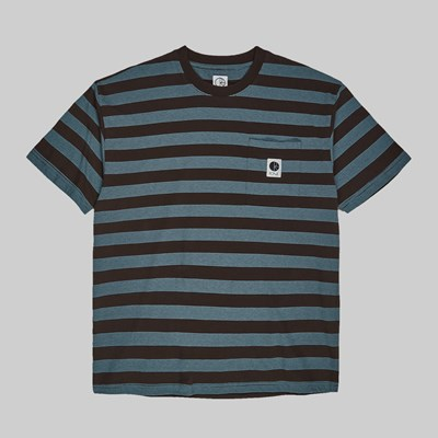 POLAR SKATE CO. STRIPE POCKET TEE BROWN BLUE