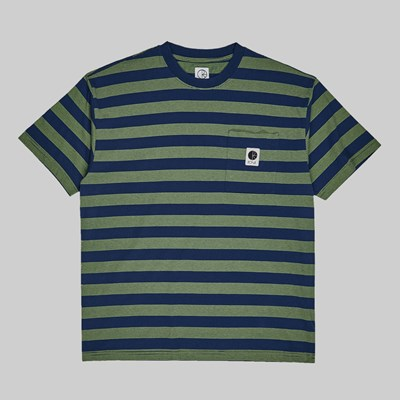 POLAR SKATE CO. STRIPE POCKET TEE DARK BLUE LIME