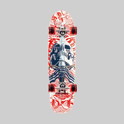 POWELL PERALTA COMPLETE MINI SKULL & SWORD WHITE 8