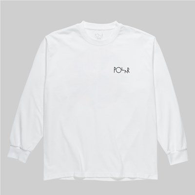 POLAR SKATE CO. TK FILL LOGO LONG SLEEVE TEE WHITE