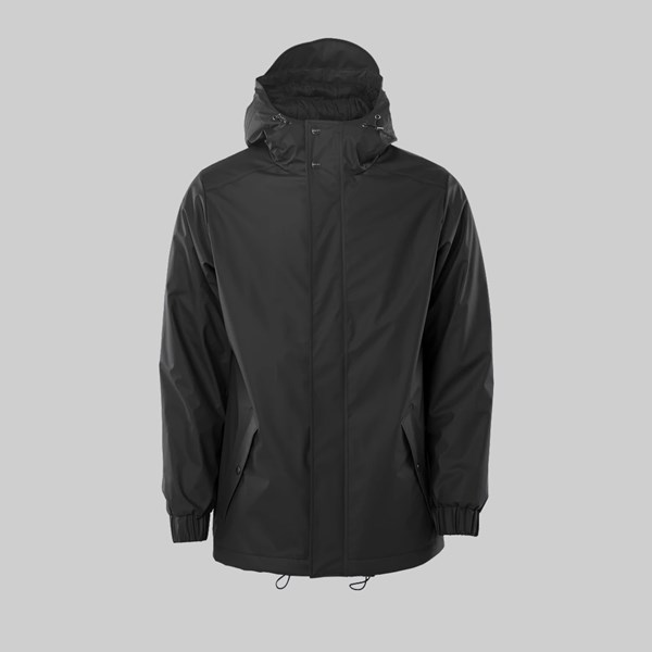 RAINS QUILTED PARKER JACKET BLACK