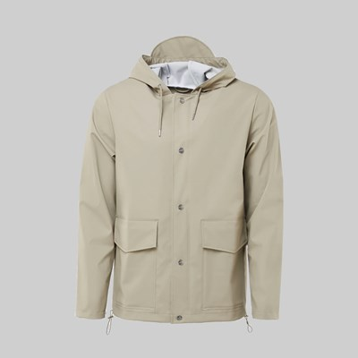 RAINS SHORT HOODED COAT BEIGE