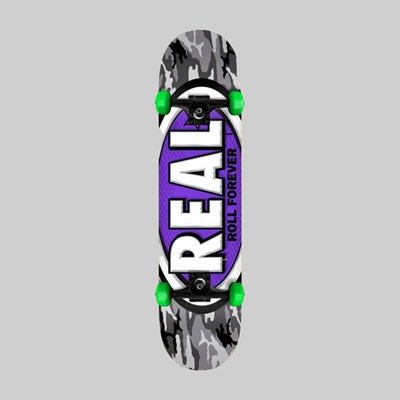 REAL SKATEBOARDS COMPLETE OVAL CAMO MINI 7.3