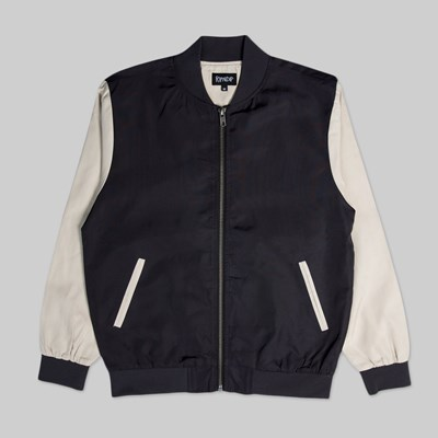 RIP N DIP BOUQUET VARSITY JACKET BLACK TAN