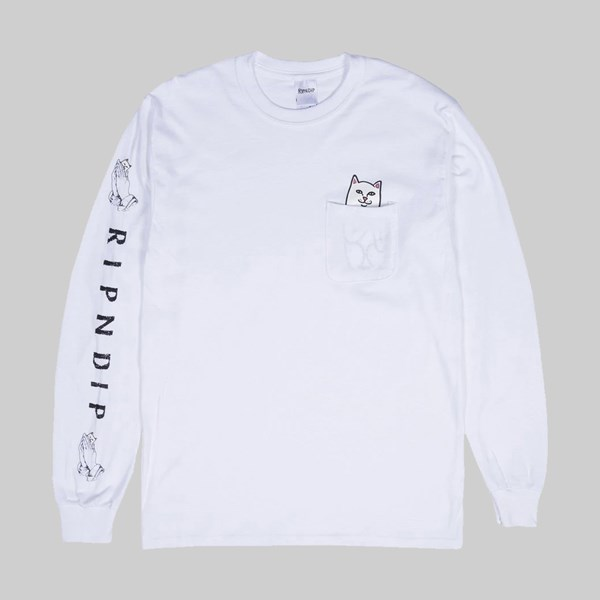 RIP N DIP LORD NERMAL POCKET LONG SLEEVE TEE WHITE