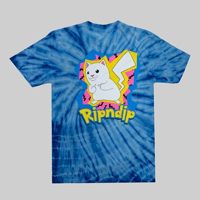 RIP N DIP CATCH EM ALL SS T-SHIRT BLUE SPIRAL DYE