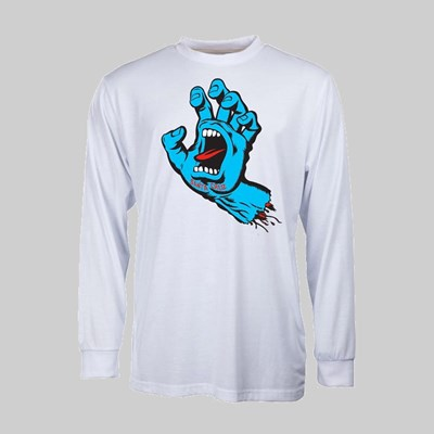SANTA CRUZ LONGSLEEVE SCREAMING HAND WHITE