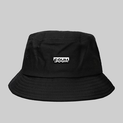 FAKE SCUM SKATEBOARDS LOGO BUCKET HAT BLACK
