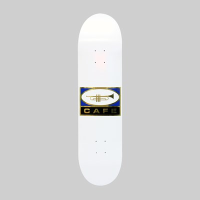 SKATEBOARD CAFE TRUMPET LOGO DECK WHITE 8.00