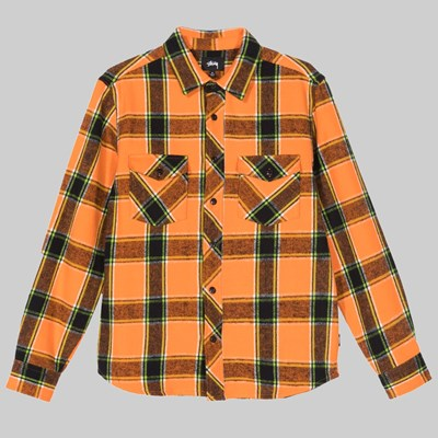 STUSSY ACE PLAID SHIRT LS ORANGE