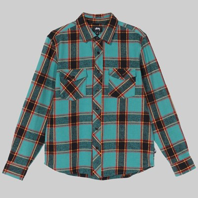 STUSSY ACE PLAID SHIRT LS TEAL