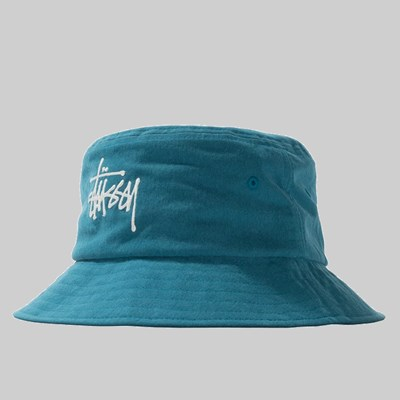 STUSSY BIG LOGO CANVAS BUCKET HAT BLUE