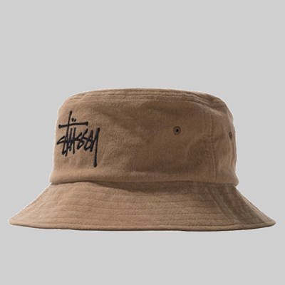 STUSSY BIG LOGO CANVAS BUCKET HAT BROWN