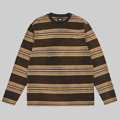STUSSY BLEACH STRIPE LS CREW BLACK
