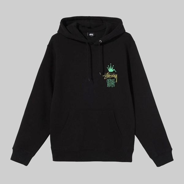 STUSSY GLOBAL ROOTS HOOD SWEAT BLACK
