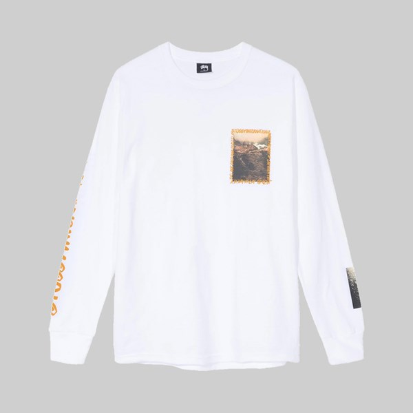 STUSSY GREAT OUTDOORS LONG SLEEVE TEE WHITE