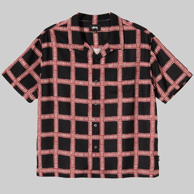 STUSSY HAND DRAWN PLAID SHIRT BLACK