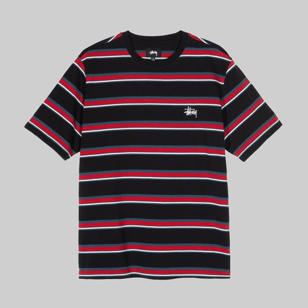 STUSSY HARBOUR STRIPE CREW BLACK
