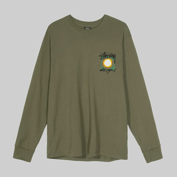 STUSSY HIGH DESERT PIG. DYED LONG SLEEVE TEE OLIVE